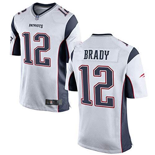 Rugby Jersey Fußball Jersey für Herren-12# Tom Brady New England Patriots Herren Polo Shirt Mesh schnell trocknend Langarm Polyester Fans Sweatshirt, White-L