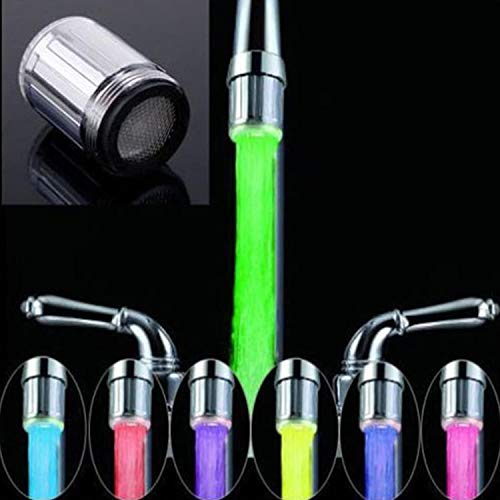 2 piezas LED grifo de agua, 7 colores que cambian resplandor grifo de agua luz corriente de agua cambio de color grifo grifo del lavabo para cocina baño