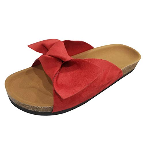Sandali Donna,Donna Ciabatte Eleganti Estive Anti-Scivolo con Flip-Flop con Fiocco per Summer Spiaggia, Pantofola Piatto Morbido Comode Indoor & Outdoor Flip-Flop