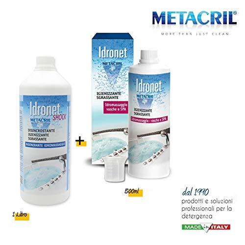 Metacril Kit Igienizzante + Trattamento Shock per IDROMASSAGGIO (Teuco,Jacuzzi,Glass,Hafro,Novellini,ECC.) Idronet 500ml + dosatore + Idronet Shock 1 Lt.- Spedizione IMMEDIATA