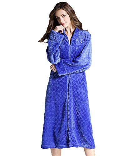 Yuncai Elegant Stickerei Damen Bademantel Weich Gemütlich Frauen Nachthemd Morgenmantel Reißverschluss Großformat Saphir S