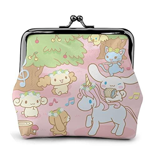 Hello Kitty Cinnamoroll - Monedero de piel con hebilla de flor retro para correo, con cierre de beso, bolsa de regalo para cosméticos
