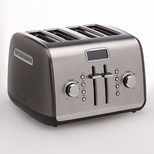 Amazon Com Kitchenaid Kmt422qg 4 Slice Toaster With Manual High Lift Lever And Digital Display Liquid Graphite Kitchen Dining