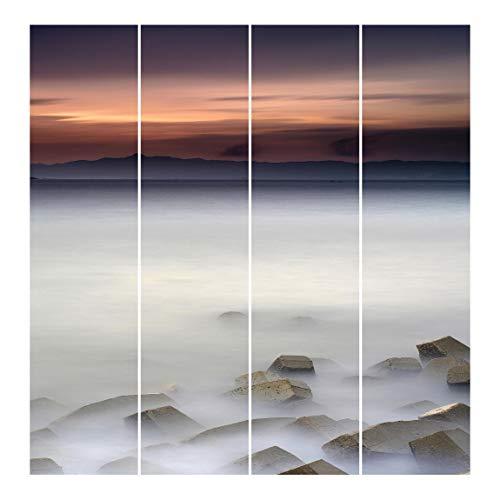 Bilderwelten Panel japonés Cortinas Riel Sunset In The Fog Set Montaje de Pared, 250 x 240cm