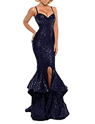 Navy Blue Sequin Prom Gown Mermaid Bodycon Dress