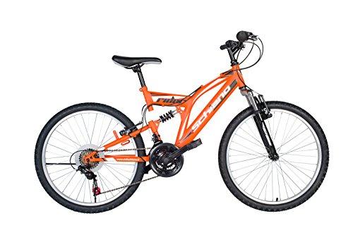 F.lli Schiano Rider Shimano Bici Biammortizzata 18 velocità, Arancio/Bianco, 26'