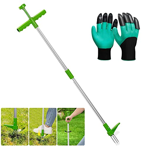 FSHOW Weed Puller Garden Weedsle with 39  Long Handle Plant Root Removal Tool, Manual Weeder Hand Tools with 3 Stainless Steel Claws, High Strength Foot Pedal, 1Pair Gardening Gloves