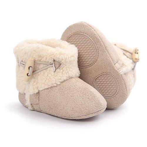 MIYA Super Süß Baby Lammfell Stiefel, rutschfeste Lauflernschuhe, warm Winter Plüschschuhe, weich, warm und schön, 6~12 Monate,Grau/weinrot/beige (beige)