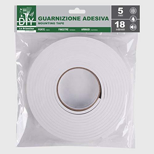 La Briantina Junta de Cinta Adhesiva Aislante de EVA para Ventanas, Puertas y armarios. Color Blanco, 18 x 5 mm, 5 Metros para Cortar