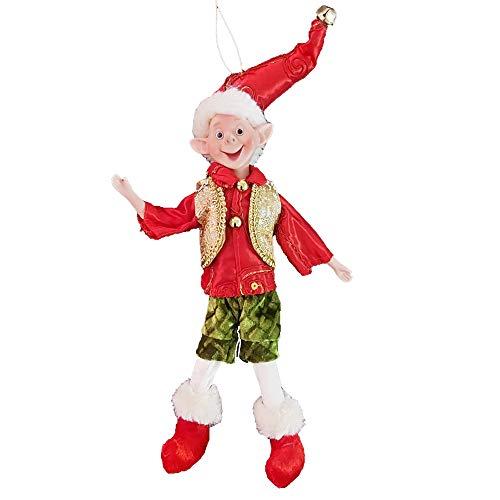 Weihnachtself, bewegliche Elfe auf Regal, Silber oder Gold, 33 cm Figur, Ornament (rot)