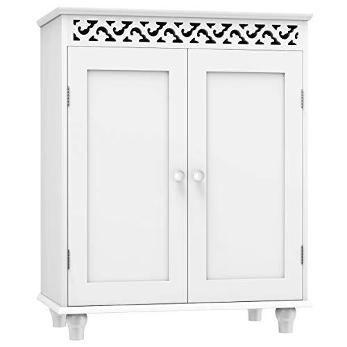 Tangkula Floor Bathroom Cabinet, Bathroom Storage Cabinet, Wooden Modern Home Bathroom Storage -