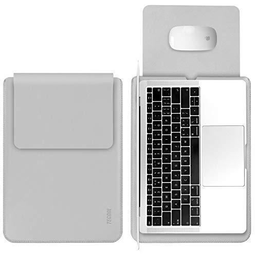 TECOOL Laptop Hülle 13 Zoll Tasche, Laptop Sleeve Kunstleder Schutzhülle Case für MacBook Air/Pro Retina 13,3, HP Envy x360, Huawei 13 MateBook E/X, ASUS Flip C302CA, Dell 13 XPS -HellGrau