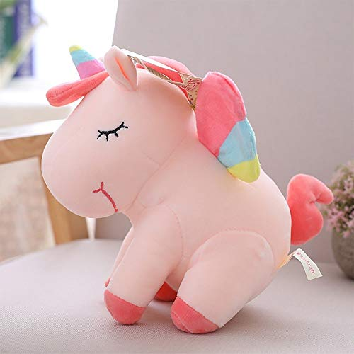 Eenhoorn Doll Plush Toy Prone Posture Child Kussen Leuke knuffel pop (Color : Pink)
