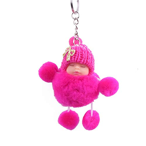Zeagro Schlüsselanhänger aus weichem Plüsch mit niedlichem Charm, Kunstfell, Flauschiger Pompon, Schlüsselanhänger, Dekoration, 1 Stück, rosarot