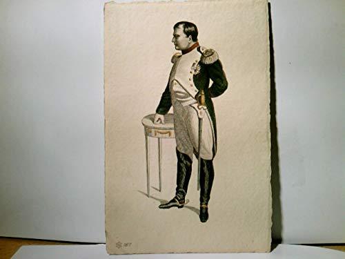 Napoleon Bonaparte. Stahlstich - Porträt - Galerie, Serie 26. Alte AK farbig, ungel. ca 1910. Napoleon stehend an Beistelltisch, Militaria, Geschichte, Frankreich