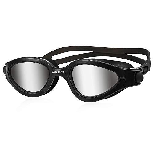 Queshark Gafas de Natación Polarizadas Protección UV Impermeable Antivaho Correa Ajustable Cómodo para Hombres Mujeres Adultos Unisex QS02 (Plata Negra)
