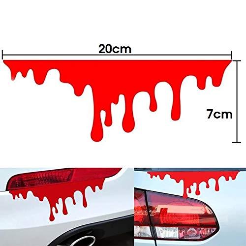 2er Set Sticker Aufkleber Grusel-Dekoration Blut Tropfen Blutspuren Blutstropfen Blutspritzer Tattoo für Auto Rückleuchten Scheinwerfer Motorrad Roller usw. (2x Stück 20x7cm)