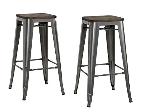 DHP Fusion Metal Backless 30 Bar Stool with Wood Seat, Distressed Metal Finish for Industrial Appeal, Set of two, Antique Gun Metal