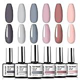 GELFAVOR Smalto per Unghie Gel 6Pcs 10ml Set Set per Manicure Multicolore Rosa Nudo e Rosso Soak Off UV LED Smalti Semipermanenti per Unghie per Le Donne