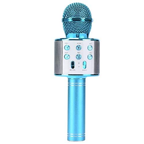 Handheld Wireless Singing Mike Multi-function Bluetooth Karaoke Mic with Microphone Speaker For All Smart Phones (Blue)