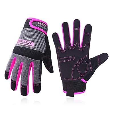UltraLight Safety Work Gloves, Women Utility Work Gloves, MultiFunctional Mechanic Gardening Construction DIY Work Gloves with Touchscreen (Small, Pink)