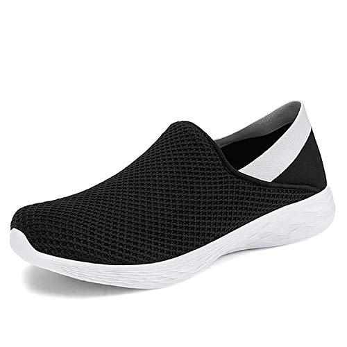 [Fainyearn] スニーカー レディース メンズ スリッポン カップルシューズ モカシン ナースシューズ 安全靴 デッキシューズ 超軽量 ウォキングシューズ 2WAY かかと踏める 男女兼用 安全靴 作業靴 大きいサイズ ブラック 24.5cm