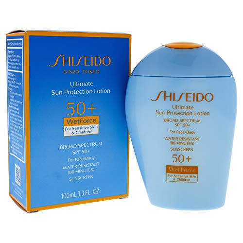 Shiseido Ultimate Sun Protection Lotion Wetforce Spf 50 for Sensitive Skin and Children By Shiseido for Unise, 3.3 Ounce
