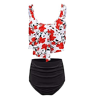 RAINED-Women's Two Piece Swimsuit Crop Tanks+ High Waisted Bottom Tankini Halter Bikini Raceback Swimwear Bathing Suit