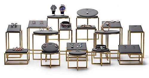 FSJD Soporte de exhibición de joyería - Soporte de Pendiente Soporte de Collar - Cuero metálico para Anillos Pulseras Relojes - Soporte de joyería de encimera - Un Conjunto de 16 Modelos
