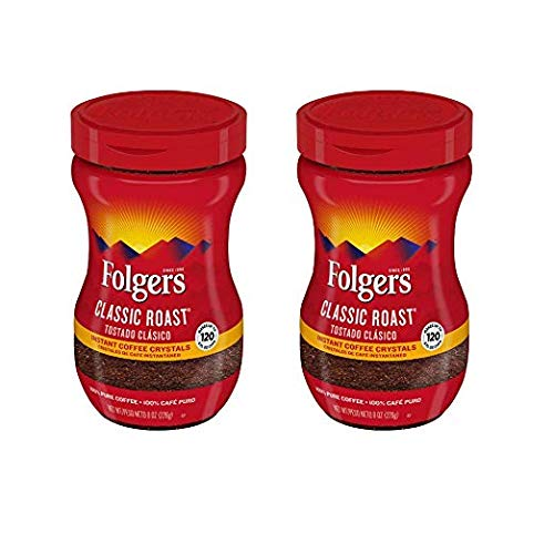 Folgers Classic Roast Instant Coffee Crystals, 8 ounce - 2 pack