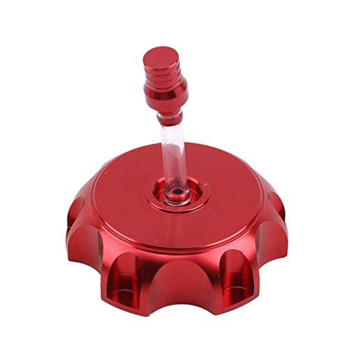 Tankdeckel, 48.5mm Rot Benzintankkappe, CNC Tankdeckel Benzin mit entlüftungsschlauch, Universal Motorrad Tankdeckel mit Entlüftungsventil Entlüftungsschlauch für Dirt Pit Bike ATV Kunststoff
