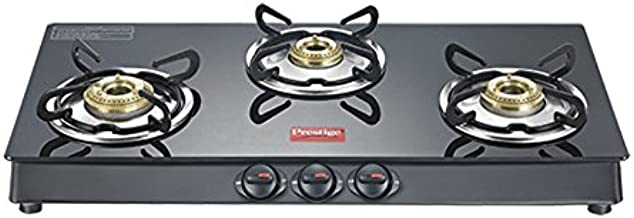 Prestige Marvel Plus Glass Top 3 Burner Gas Stove, Manual Ignition, Black