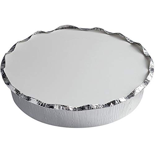 (Round/Board Lid, 9', Case of 200) tekbotic Disposable Aluminum Foil Take Out Containers/Pans for Lasagna/Roasting/Leftovers/to Go/Pot Pies/Freezer