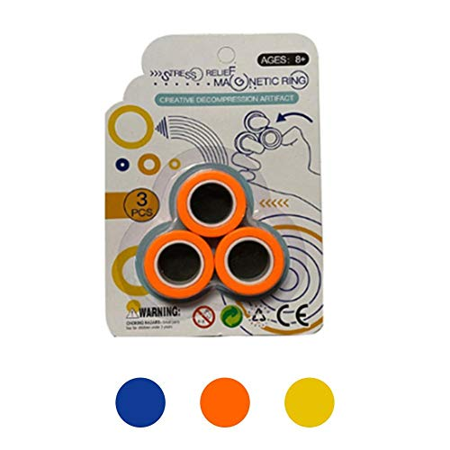 asterisknewly Magnet Toys, Fidget Spinner, Stress Relief Magnetic Ring Finger Spinning In The Air, Colorful Magnetic Rings Fidget Toy, Anti-stress Fidget For Games, Kid, Adult - Random Color