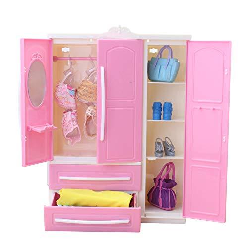 LICHENGTAI Mini Armario para muñecas Armario para muñecas Accesorios para muñecas Muebles de Armario para muñecas, Organizador de Vestuarios de Muñecas para Niñas