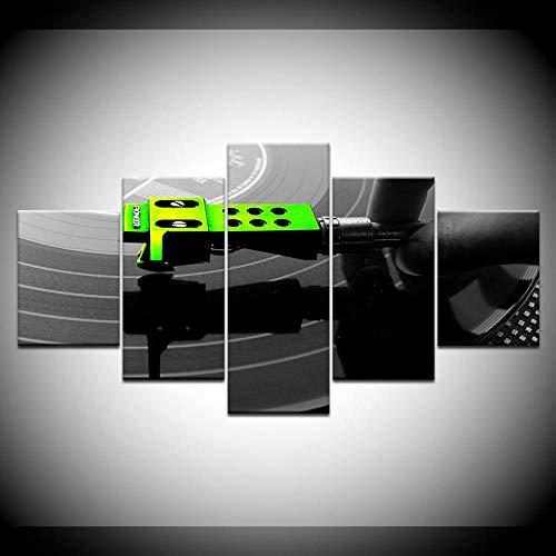 YQSL Cuadro sobre Lienzo Lienzo HD Imprimir 5 Piezas Arte DJ Música...