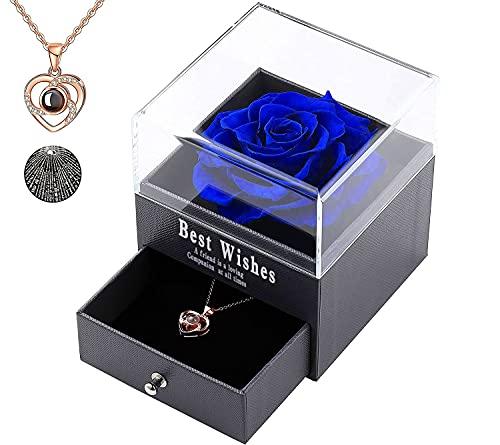 Love You - Collar con colgante de rosa eterna con joyas, ideal como regalo de cumpleaños, San Valentín, boda, día de la madre y aniversario, regalo romántico