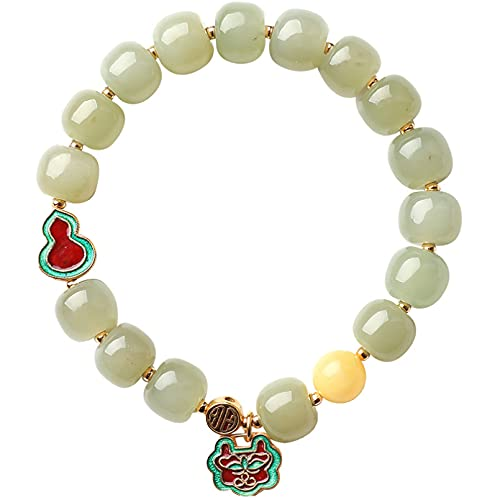 N/A Schmuck Natürliches Hetian Jade Armband 10mm Damen Jade und Bienenwachs Jaspis Perlenarmband Jubiläum Muttertag Weihnachten Geburtstagsgeschenk