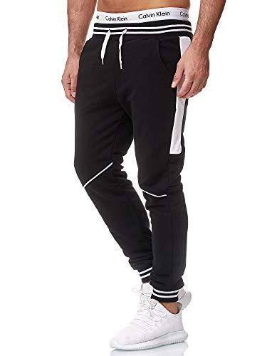 OneRedox Herren Jogging Hose Jogger Streetwear Sporthose Modell 1317Schwarz WeissL