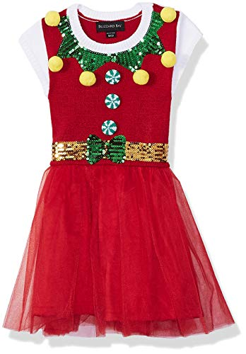 Blizzard Bay Girls Ugly Chrismas Sweater, red/Tool/Dress, L-14