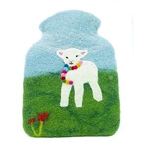 feelz – Wärmflasche gefilzt Lamm, Kinderwärmflasche aus Filz Wolle (Merino) Wärmflaschenbezug für Kinder – Handarbeit…