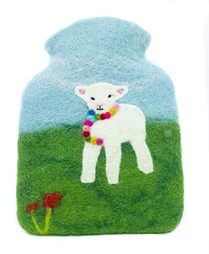 feelz - Wärmflasche gefilzt Lamm, Kinderwärmflasche aus Filz Wolle (Merino) Wärmflaschenbezug für Kinder - Handarbeit Fairtrade