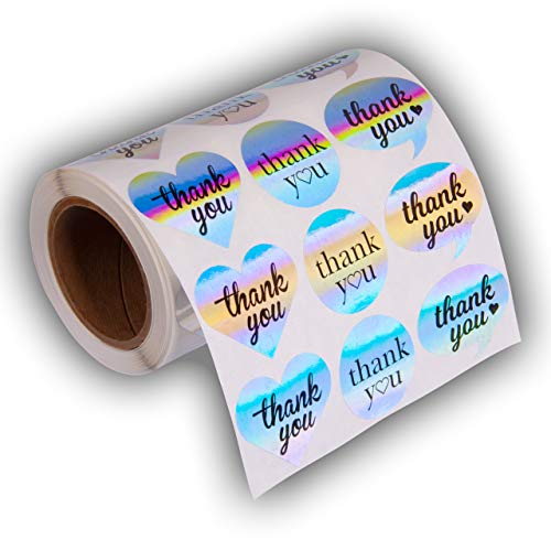 """1.5"""" Heart Circle Bubble Shape Thank You Adhesive Label Stickers, 1000 Stickers per Roll,1-1/2 Inch by Kenco (Rainbow Holo)"""