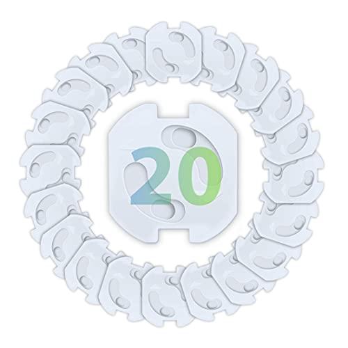 Droquimur | Protector de enchufes para bebés | Seguridad infantil | Automático para Schuko Europeo | Blanco | 20 unidades