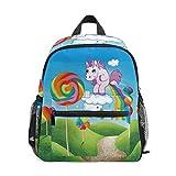 Caramelo Colorido Unicornio Mochila para Preescolar Niñas Niños Toddler Kids Estudiante Mochilas para Infantiles 1-6 Años
