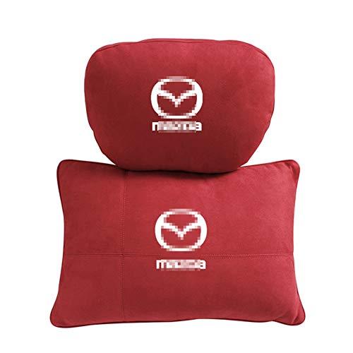 QIEP 2pcs Car Cervical Spine Neck Headrest Pillow Lumbar Cushion Accessories For Mazda 3 6 CX-5 CX-7 CX-9 CX-3 CX30 Axela Atenza