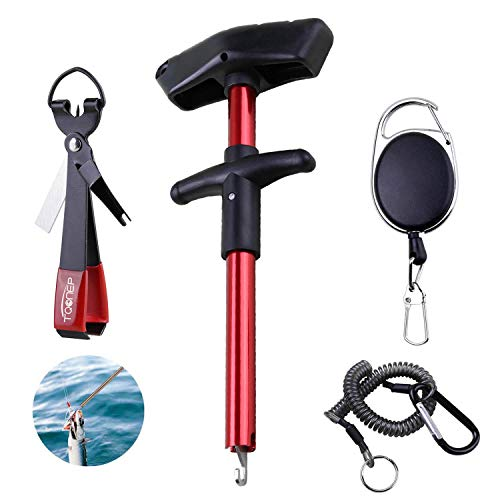 TQONEP Easy Fish Hook Remover SqueezePortable Fishing Hook Remover with Fishing Quick Knot Tying Tool 4 in 1 Fly Line Clippers with Retractor Combo Kit