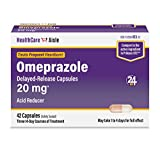 HealthCareAisle Omeprazole Delayed-Release Capsules | Treats Frequent Heartburn | 20 mg | 42 Count