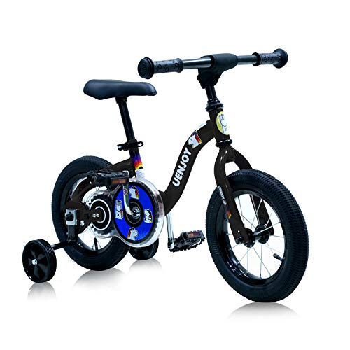 "Uenjoy 2 in 1 Kids Bike & Balance Bike for 2-4 Years Old Boys & Girls, Easy to Assemble,W/Detachable Training Wheels 12"" Starter Toddler Balance Bike Height Adjustable Bicycle,Black"