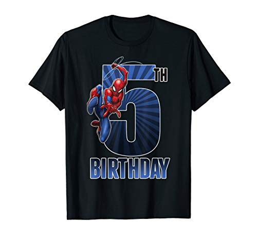 Marvel Spider-Man Swinging 5th Birthday Graphic T-Shirt T-Shirt